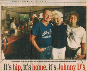 David, Tina and Carla (front-page photo from the LIVING/ARTS section of The Boston Sunday Globe)