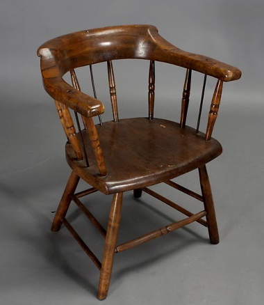 Pics s Two Antique Wood Captain S Chairs