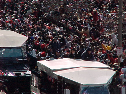 The crowd at the Pat's first victory parade.
