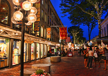 Faneuil Hall Marketplace after revitalization.  (Photo by Gary Burke.)